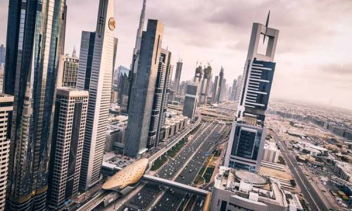 Elevated view of modern skyscrapers along Sheikh Zayed Road, Dubai.